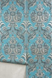 Anthropologie Felicitous Emblem Wallpaper Teal And Charcoal
