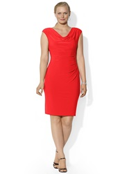 Lauren Ralph Lauren Cowl Neck Jersey Sheath Dress Plus Size Collection Red