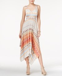 American Rag Printed Handkerchief Hem Maxi Dress Only At Macy's Coral Multi