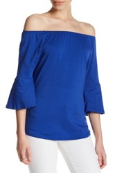 Workshop Boatneck Bell Sleeve Shirt Petite Blue