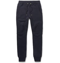 Balmain Panelled Skinny Fit Cotton Jersey Biker Sweatpants Blue