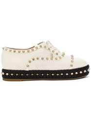 Charlotte Olympia Studded Platform Shoes Leather Rubber White
