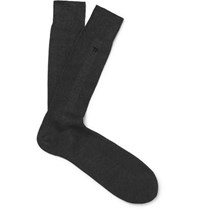 Tom Ford Logo Embroidered Ribbed Cotton Socks Charcoal