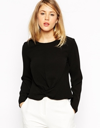 Asos Knot Front Long Sleeve Top Black