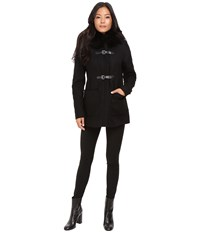 Calvin Klein Fur Trimmed Toggle W Oversized Pockets Black Women's Coat