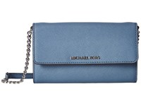 Michael Michael Kors Jet Set Travel Large Phone Crossbody Denim Cross Body Handbags Blue