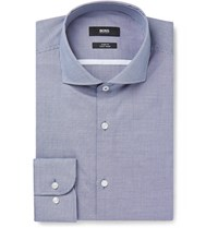Hugo Boss Blue Jerrin Slim Fit Cutaway Collar Micro Gingham Cotton Shirt Blue