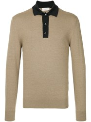 Cerruti 1881 Long Sleeve Polo Shirt Nude And Neutrals
