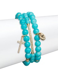 Saks Fifth Avenue Pave Blessed Charm Beaded Bracelets Set Of 3 Turquoise Gold