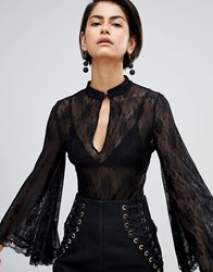 Forever Unique Lace Bodysuit With Fluted Sleeve Black
