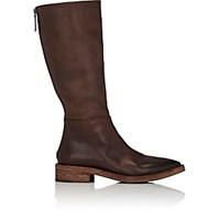 Marsell Women's Back Zip Leather Knee Boots Dark Brown