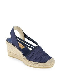 Vidorreta Sherri Chambray Platform Wedge Espadrille Sandals Navy Blue