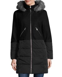 Catherine Malandrino Hooded Wool Blend And Quilted Coat Black