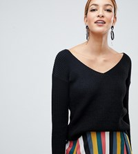Boohoo Oversized V Neck Sweater In Black Black
