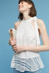 Anthropologie Lyza Lace Halter Top White