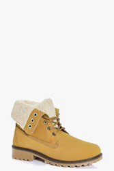 Boohoo Kara Borg Cuff Lace Up Hiker Boot Sand