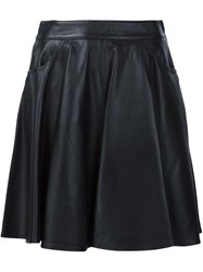 Jeremy Scott Leather Mini Skirt Black