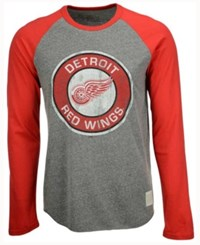 Retro Brand Men's Detroit Red Wings Long Sleeve Tri Blend Raglan T Shirt Gray Red