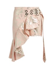 Marques Almeida Floral Brocade Asymmetric Mini Skirt Pink Multi
