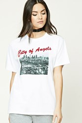 Forever 21 City Of Angels Graphic Tee White Black