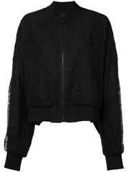 Vera Wang Sheer Back Lace Bomber Jacket Black