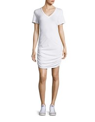 Tommy Bahama Knit And Chiffon V Neck Shirred T Shirt Dress White