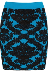 House Of Holland Flocked Stretch Knit Mini Skirt
