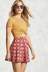 Forever 21 Ornate Printed Flared Skirt Wine Beige