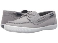 Sperry Sayel Away Perf Canvas Grey Women's Lace Up Moc Toe Shoes Gray