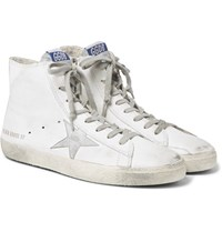Golden Goose Deluxe Brand Francy Distressed Leather And Suede High Top Sneakers White