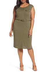 Sejour Plus Size Women's Knit Safari Dress