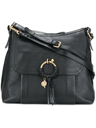 See By Chloe Woven Hoop Tote Bag Leather Cotton Black