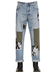 Mcq By Alexander Mcqueen 18Cm Patched Vintage Denim Jeans Blue