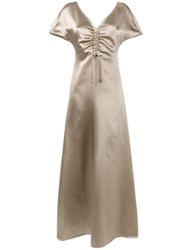 Barbara Casasola Gathered Chest Gown Nude And Neutrals