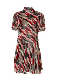 Etoile Isabel Marant Lazy Striped Abstract Print Velvet Dress Multi