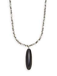 Cara Beaded Cabochon Pendant Necklace Black
