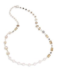 Stephen Dweck 22Mm 8Mm Cultured Freshwater Pearl Smoky Quartz And Sterling Silver Necklace