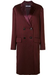 Givenchy Striped Double Breasted Coat Red