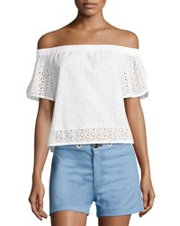 Rag And Bone Flavia Eyelet Lace Off The Shoulder Short Sleeve Top White