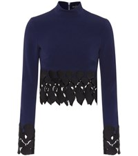 David Koma Embroidered Top Blue