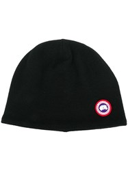Canada Goose Logo Embroidered Beanie Hat Black