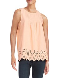 Lord And Taylor Embroidered Cotton Tank Solar