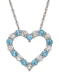 Macy's Aquamarine 5 8 Ct. T.W. And White Topaz 3 4 Ct. T.W. Heart Pendant Necklace In 14K White Gold Blue