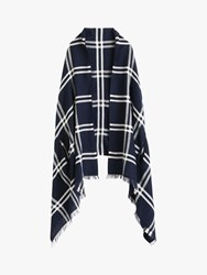 J.Crew Windowpane Cape Scarf Navy Ivory