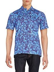 Robert Graham Lizard Valley Polo Shirt Medium Blue