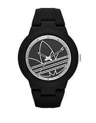 Adidas Matte Black Silicone And Silvertone Logo Print Watch