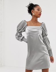 Reclaimed Vintage Inspired Mini Dress With Puff And Ruched Sleeve Detail Silver