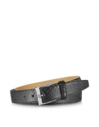 Forzieri Black Python Leather Men's Belt
