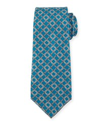 Textured Grid Print Silk Tie Blue Gray Blue Grey Davidoff