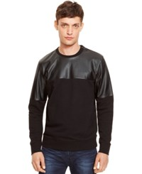 Kenneth Cole New York Faux Leather Colorblocked Sweater Black